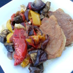Pork loin in a pear, honey and ginger glaze with roasted Mediterranean vegetables